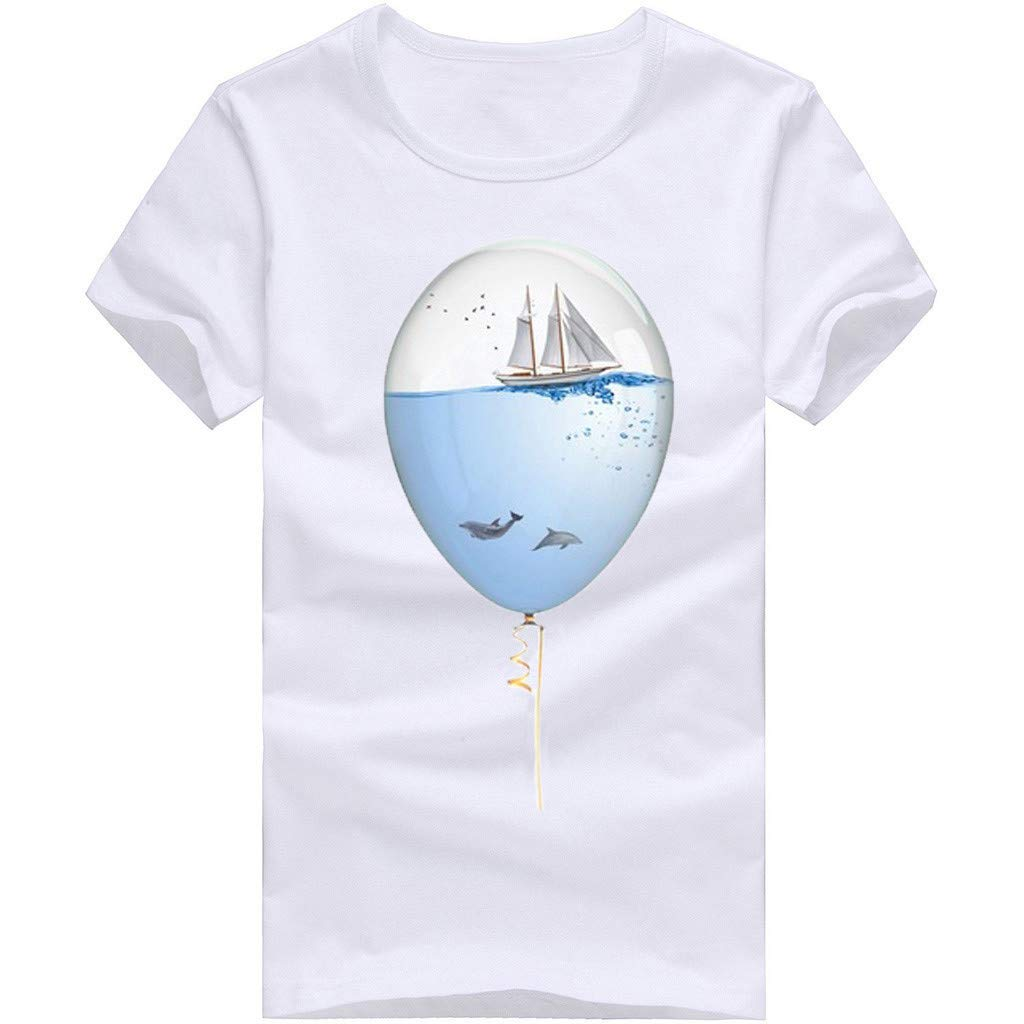 Willsa Mens Shirts, Unisex Solid Color Balloon Printing Tees Shirt Short Sleeve Casual Couples Tops Blouse White