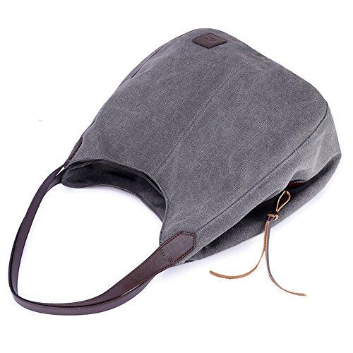 Vintage Female Gray yijiamaoyiyouxia Shoulder Handbags Bags Single Women's Hobos Canvas CwTFtTRqx