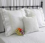 Queen's House Cotton Embroidery Lace Euro Pillow Covers Shams -H
