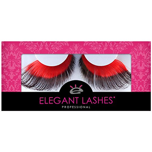 Elegant Lashes W580 Premium Red and Black Jumbo Color False Eyelashes Halloween Dance Rave (Burlesque Costume Designers)