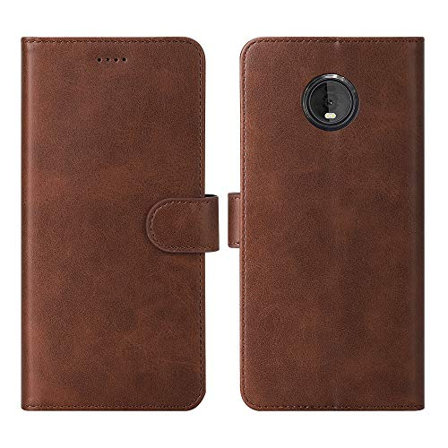 Redluckstar Motorola Moto Z4 Case, Flip Folio Cover Leather Wallet [Magnetic Closure] [Card Slots Cash Holder] [Stand Kickstand] Shockproof Phone Case for Moto Z4 (2019 Released) Brown