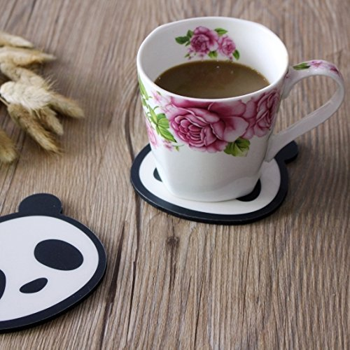 Cute Panda Silicone Coasters Set of 4 Cup Mat for Wine Glass Tea Coffee Mug (4, - Glass Panda