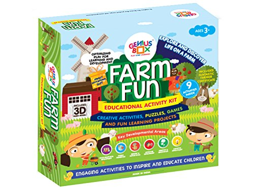 Genius Box Farm Fun Toddler kit   9 in 1 Creative DIY Activity Kit   Puzzles Game for Over 5 Years Kids   3D Farm Models Kit   Fun Learning Toys   Education Toys Gift