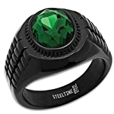 HMY Jewelry Men's Black Stainless Steel Ring With Emerald Green Jewel Inset – Lifetime Of Wear, Highly Detailed, Size 12