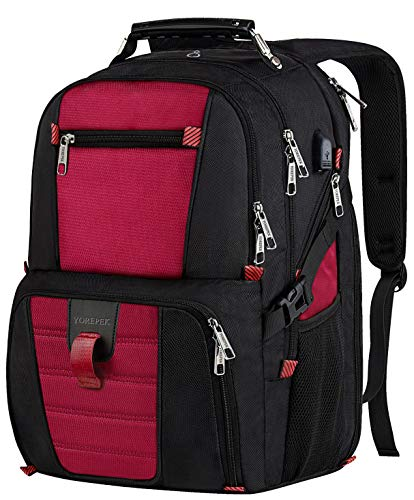 Paris Laptop Carrying Backpack - Laptop Travel Backpack, Large Capacity Computer Back Pack with Lots of Pockets,Water Repellent College Shoulder Bookbag with Usb Charging Port and Headphone Hole Fits 17 Inch Laptop,Macbook in Red