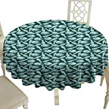 clear round tablecloth 54 Inch Bowling,Scattered Skittles Balls with Three Holes in Cartoon Style Playing Games Teal Seafoam Yellow Suitable for traveling,outdoors,family,restaurant,coffee shop More
