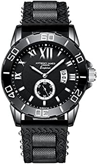 Version 3.0 ANTHONY JAMES LONDON Emperor Men's Large Black Casual Luxury Sports Watch With White Calendar Cut, Analog Quartz Movement with Durable Rubber Strap, Designer Mens Watches Sale!
