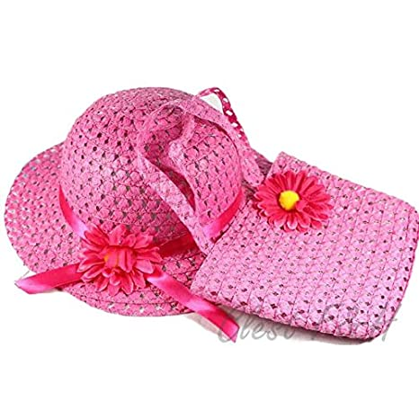 Clest F& H Summer For Kids Lovely Charm Princess Straw Baby Girl Sun Hat Flower Cap and Handbag Sets-Muti Color (Yellow)