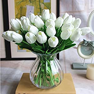 SHINE-CO LIGHTING PU Real Touch Tulips Artificial Flowers 10 Pcs Flowers Arrangement Bouquet for Home Office Wedding Decoration (White) 40