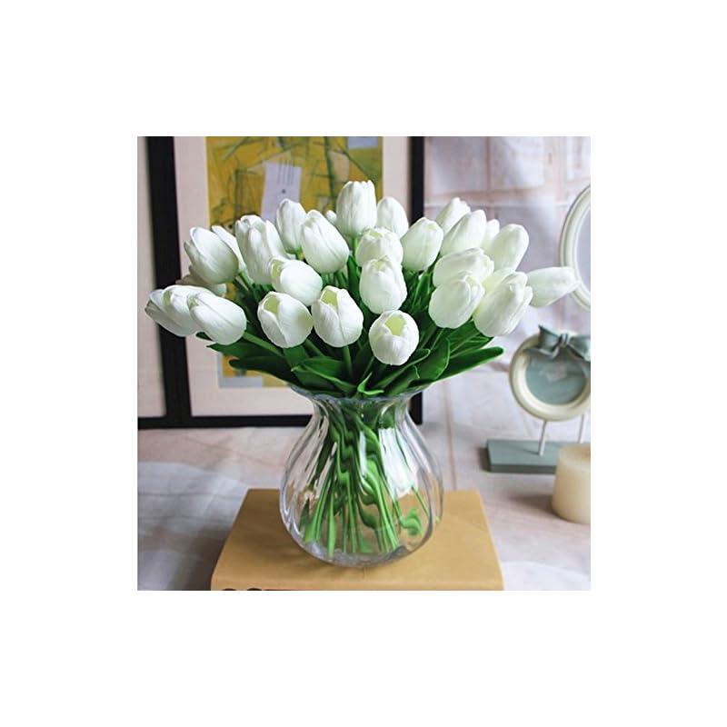 silk flower arrangements pu real touch fake tulips artificial flowers 10pcs flower arrangement bouquet for home office wedding decoration (white)
