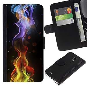 KingStore / Leather Etui en cuir / Samsung Galaxy S4 Mini i9190 / Ripple Dot Negro Resumen de humo