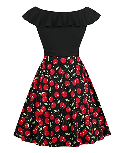 pinup Cocktail Swing Vintage Shoulder fashion 1950s Party Dress Cherry Sexy Summer Dresses Off Women qqrSwa