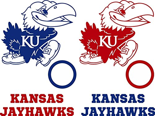 Kansas Jayhawks Cornhole Decals - 6 Cornhole Decals With Circles by GStar