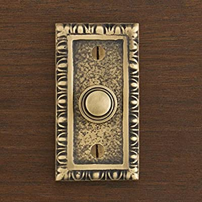 Casa Hardware Rug Style Solid Brass Rectangular Doorbell with Push Button in 4 Finishes