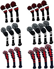Knit Golf Club Head Covers Set of 3/4 for Woods and Driver, Pom Pom Clubs Headcovers with Number Tag for Fairw