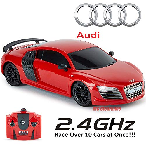 (Audi R8 Gt RC Car Radio Remote Controlled Model Car 1: 24 Scale 2.4Ghz Race Over 10 Cars at Once! - Red)
