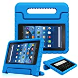 Fintie Shock Proof Case for all-new Fire 7 Tablet (7th Generation, 2017 Release) – Kiddie Series Light Weight Convertible Handle Stand Kids Friendly Cover, Blue