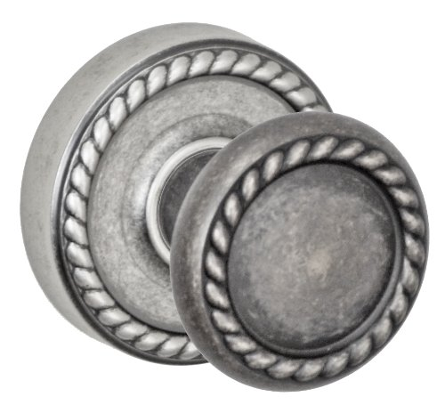 (Fusion Hardware D-15-Z8-E-ATP Elite Collection Rope Dummy Knob with Rope Rose, Antique Pewter)