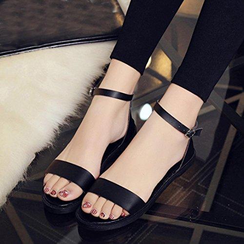 Binmer (tm) Sandales Dété Femmes Plat Mode Dames Confortables Chaussures Noir