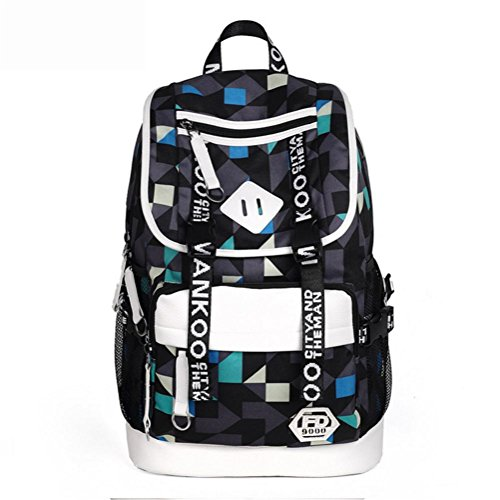 Computer Business USB Oxford A Daypack blue Port Charging Rucksack Laptop Printing School Satchel Backpack Black ash with Bag and EqpzHnS