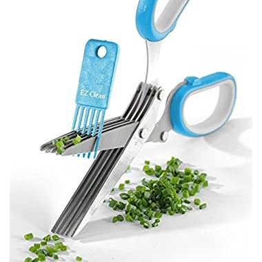 Herb Scissors Best Quality - Easy Clean Multipurpose 5 Stainless Steel Blades Kitchen Shears - Ergonomic Design with Cleaning Comb - Heavy Duty Durable Culinary Cutter with Sharp Blade - Blue Color