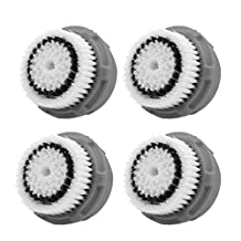LSQtronics Normal skin Facial Brush Heads for Clarisonic. Face Cleansing Brush Heads for Daily Skin Care. Compatible with Clarisonic MIA, MIA 2, ARIA, PRO and PLUS Cleansing Systems. (4-Pack Normal skin Brush Head)