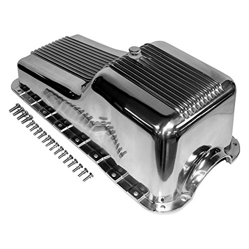 Aluminum Oil Finned Pan - Assault Racing Products A8446 for Small Block Ford Polished Aluminum Oil Pan Retro Finned Front Sump SBF 260 289 302