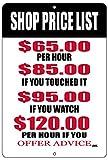 Rogue River Tactical Funny Mechanic Metal Tin Sign Wall Decor Man Cave Bar Shop Price List