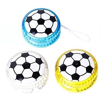 DISOK Lote de 12 Yo Yo Fútbol con Luz - Yoyos Originales Pelota Balón de Fútbol Divertidos para Niños, Infantiles. Regalos para Cumpleaños Infantiles, ...