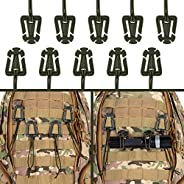 IronSeals 10 Pack Tactical Gear Clip Molle Web Dominators for Outdoor Hydration Tube Backpack Straps Managemen