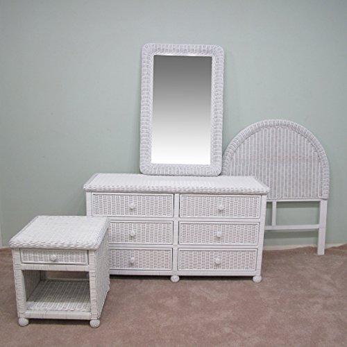 White Wicker 4 Piece Twin Bedroom Set (Headboard, Night Stand, Dresser, Mirror) (Set Rattan Dresser)