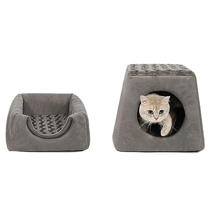MeiHao Nido Plegable Cerrado para Mascotas, cálido Cat House Cat Sofá Cama Duradera Lavable para