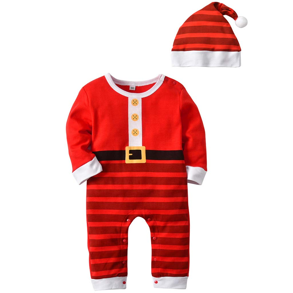 Baby Sleepsuits Rompers Clothes Set - Boys Girls Jumpsuit with Hat Cotton Long Sleeve Pyjamas Onesies Christmas Costumes Toddler Bodysuits Outfits