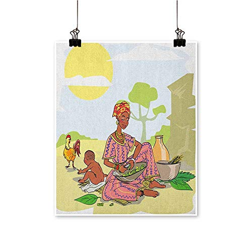 HouseDecor African Woman,Wall Art Pictures Frameless Mother with Her Baby Cooking Dinner Time Rooster Vegetables Maternity Theme W24 xL32 Canvas Artwork for Child Living ()