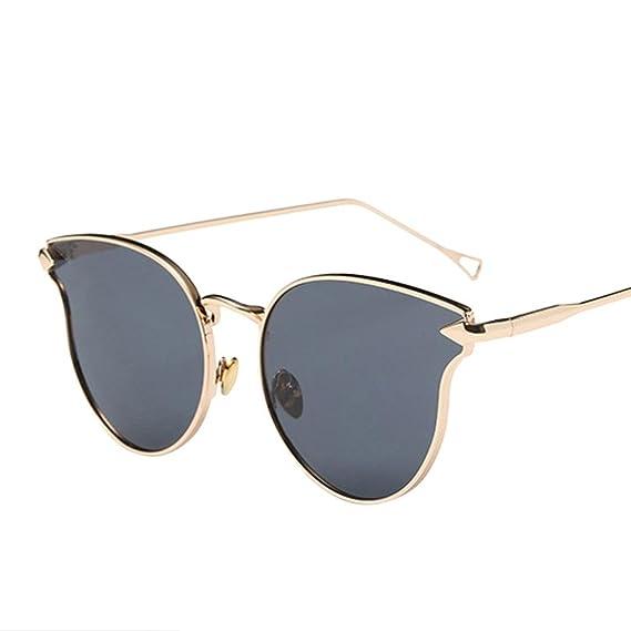 Winwintom Mujer Hombres Moda gato Vintage Marco de metal Espejo gafas de sol mujer gafas de sol