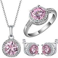 pimchanok 925 Silver Pink Sapphire Gemstone Pendant+Earring+ Ring Wedding Gift Jewelry Set (7)