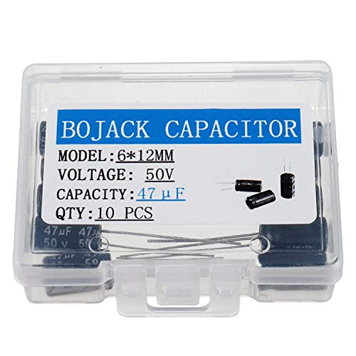 - BOJACK 6X12mm 47uF 50V 47MFD 50Voltage ±20% Aluminum Electrolytic Capacitors(Pack of 10 Pcs)