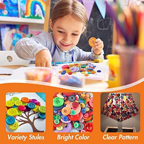 VGOODALL 1000 STK. Bunte Knöpfe, Kunststoff Bastelknöpfe Kinderknöpfe in Verschiedene Größen und Farben für Kinder DIY Basteln Painting Geschenk Deko