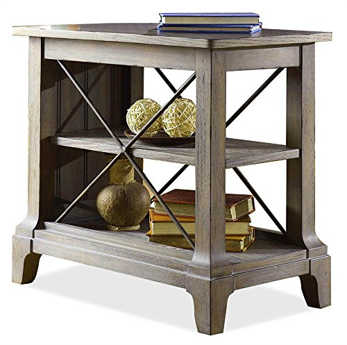 Riverside Furniture 597053 Chair Side Table with Center Removable Shelf Grey