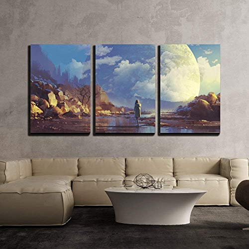 Scenery of Lonely Woman Looking at Another Earth Illustration Painting x3 Panels
