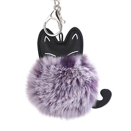 (Siviki 8CM Cute Cat Keychain Pendant Women Key Ring Holder Pompoms Key Chains)