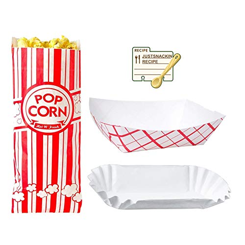 Disposable Paper Food Tray Variety Bundle for Fairs, Festivals, Carnivals, BBQs, and Picnics. Holds Nachos, Fries, Hot Corn Dogs, and more! 100 of each - Popcorn Bags, Food Trays, Fluted Hot Dog Trays]()