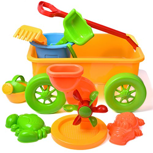 Kids Beach Sand Toys Set Outdoor Activities Educational Colorful Play Set with Sand Wheel, Watering Can, Shovels Set, Rakes, Bucket, and 2 Sea Creature Molds Packaged in a Wagon 8 PCs (Wagon Plastic)