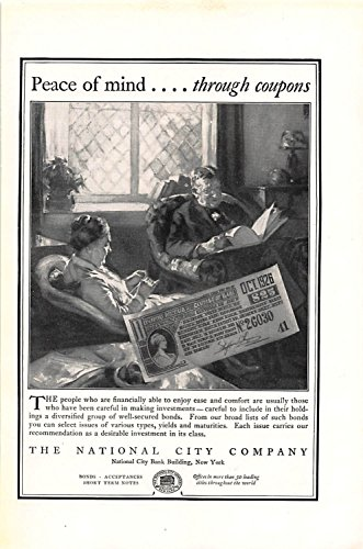 Print Ad 1925 National City Bank Peace Of Mind. Through Coupons