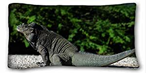 Custom ( Animals large lizard reptiles tail sit ) Soft Pillow Case Cover 20*36 Inch (One Sides)Zippered Pillowcase suitable for King-bed PC-Green-17380