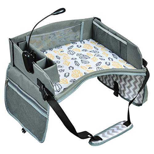Kids Travel Tray Bonus Reading Light Clip | Premium Car Seat Activity Tray | Waterproof, Food & Snack Tray | Smartphone/Tablet/Cup Holder | Back Seat Organizer | Padded/Portable