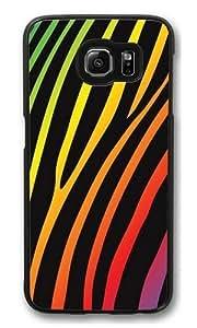 Dark Rainbow Zebra3 PC Case Cover for Samsung S6 and Samsung Galaxy S6 Black