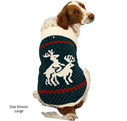 amazoncom festified reindeer games dog sweater green christmas dog sweater small pet sweaters pet supplies - Large Dog Christmas Sweaters