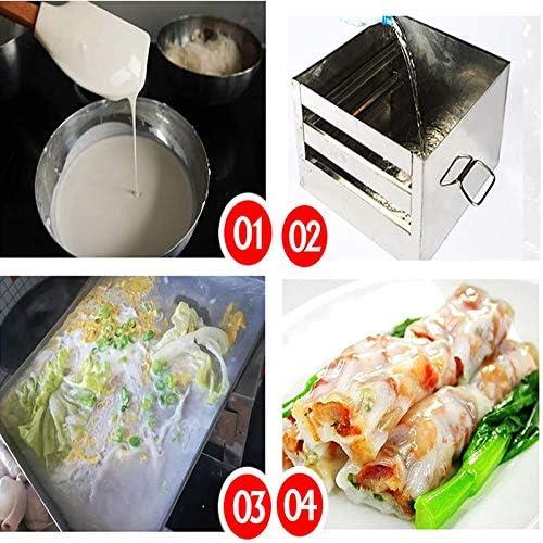 Riz Nouilles Rolls Machine Cuiseur Vapeur Tiroir,2 Couches Acier Inoxydable Steamer Tiroir Cuisson Outils Alimentaires Chinois pour Légumes,Fruits Mer,Dumplings