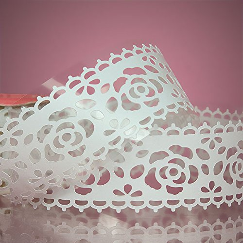 (Colored Lace Ribbon Tape (White - Big Rose))
